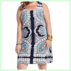 NWT INC Blue Paisley Shift Dress